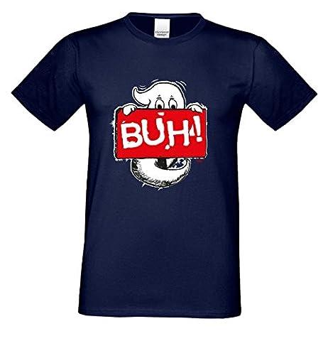 Geist Buh! ::: Lustiges Halloween-Fun-Kostüm-Sprüche-T-Shirt für Herren Teenager Party-Outfit-Bekleidung auch Übergrößen Farbe: navy-blau Gr: (Kostüm Made T Shirts)