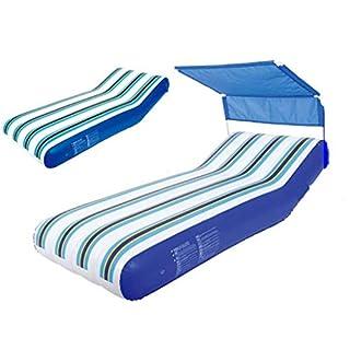 WYFDM Aufblasbare schwimmende Reihe mit Markise, aufblasbares schwimmendes Bett Wasserliege Luftbett Kinder Pool Party Spielzeug für Erwachsene, 191X74X30cm