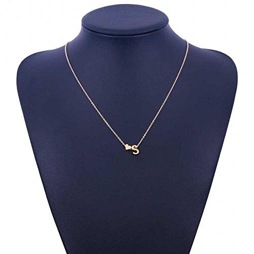 Yuneody Love Herz Buchstabe Alphabet Anhänger Halskette Initiale Charms Halskette für Frauen (S)