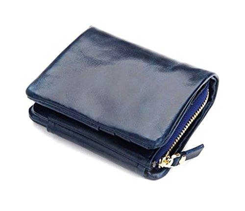 Arbeiten Sie Weinlese Trifold Geldbörse Damen große Kapazitäts-echtes Leder Geldbeutel Dark Blue (Schwarz Leder Tri-fold Blues)