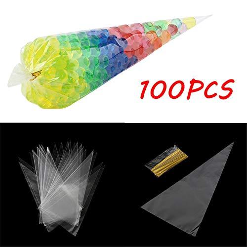 Fliyeong Zellophanbeutel, 100 Stück, transparent, mit Spiralbindungen, Party-Geschenk, Schokolade, Süßigkeiten-Popcorn, Halloween, Weihnachten, Süßigkeitenbeutel