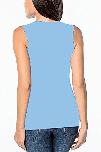 Frauen Elegant Fake 2 Pieces Schlitz Ärmellosen T - Shirt Blusen. Skyblue