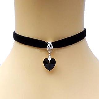 Accmart Handmade Love Heart Velvet Gothic Black Choker Necklace Retro Burlesque Necklace