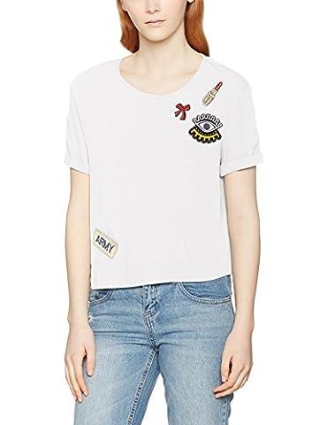 ONLY Onlbrier S/S Top Solid Wvn, T-Shirt Femme, Blanc (Cloud Dancer), 38