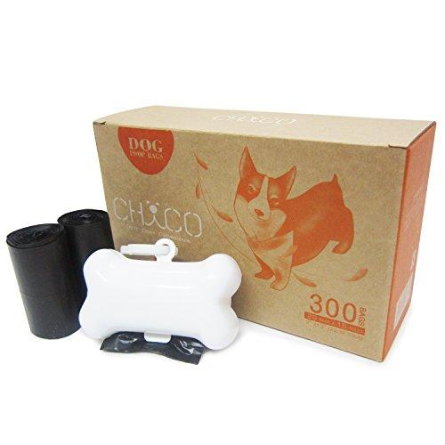 CHACO Bolsas para Excrementos de Perro con Dispensador (300bls en rollos) - Biodegradable, Bolsas de basura resistentes para desechos de mascotas con Dispensador de Auto-Desgarro (300 Bolsas + 1 Dispensador)
