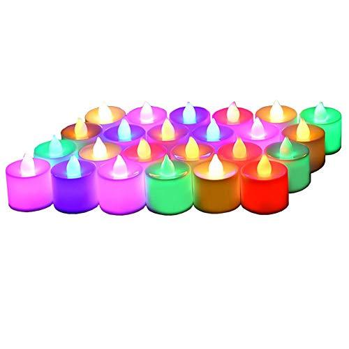 Velas LED (24 unidades, 7 colores, pilas CR2032, sin llama, parpadeante)