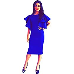 365-Shopping Women's Elegant Ruched Wear to Work Pencil Bodycon Dress