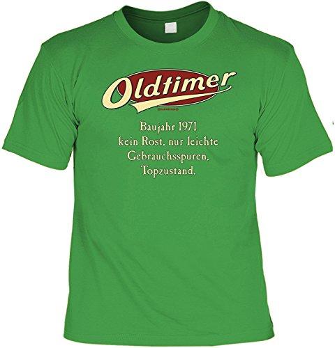 Spaß/Jahrgangs/Geburtstags-Shirt/Party-Shirt: Oldtimer Baujahr 1971 - kein Rost, nur leichte Gebrauchsspuren, Topzustand. Hellgrün