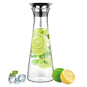 Glastal 1-1.8L Glaskaraffe Glaskrug aus Borosilikatglas Wasserkrug mit Edelstahl Deckel Karaffe Glaskanne