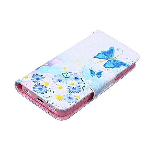 KATUMO® Hülle für Apple iPhone 5C, PU Leder Tasche Wallet Case Cover Book Style im Portemonnaie Design Handyhülle iPhone 5C Handytasche Etui Schale,Teddybär Blau Butterfly