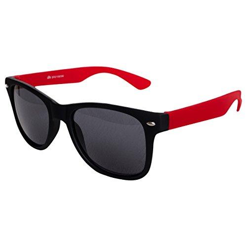 Ciffre Nerdbrille Sonnenbrille Stil Brille Pilotenbrille Vintage Look Schwarz Rot Matt