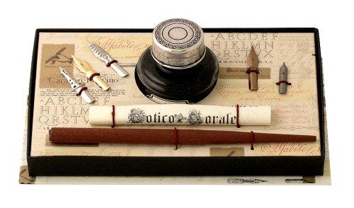 Coles Calligraphy - Set de caligrafía (pluma con cuerpo de madera, 5 plumines de peltre y frasco de tinta)