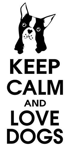 spb87 Keep Calm and Love Perros–Boston Terrier Animales casa corazón Vida Familiar Amor casa Juntos Cita de Pared Adhesivos de Vinilo Pegatinas Art Decor DIY