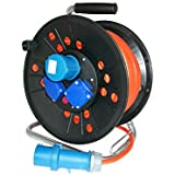 as - Schwabe 16A 50 m lead Camping Cable Reel with Thermal Cut-Out - Orange 615524