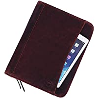 Leather Travel Portfolio | Professional Organizer Men & Women | Tablet Holder Leather Padfolio with Sleeves for documents and Ipad by Aaron Leather (Zipper Closure, Choclate Brown)