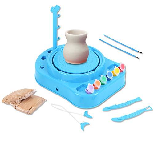 FLAMEER Kreative Töpferstudio Töpferscheibe Töpferset mit Ton, Farben, Pinsel und Werkzeug, für Kinder ab 8 Jahren