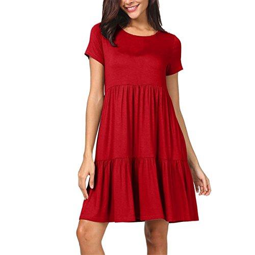 HET Damen Sommer Neue Kurzarm Modetrend Einfarbig Rüschen Lose Schaukel Würdevoll Einfache Sexy Casual Lady Dress (S, Rot) (College Kostüme Für Jungs)