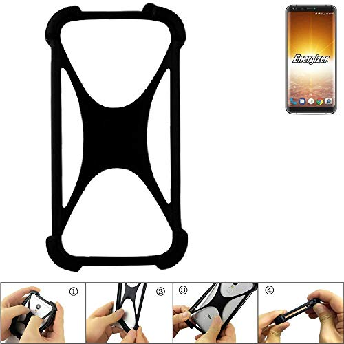 K-S-Trade Handyhülle für Energizer P600S Schutz Hülle Silikon Bumper Cover Case Silikoncase TPU Softcase Schutzhülle Smartphone Stoßschutz, schwarz (1x)