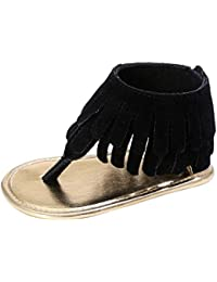 Zapatos Bebe Verano Xinantime Sandalias de Vestir Niña Zapatos Bebe Primeros Pasos Andadores Niñas Zapatos Bebé Aire Libre Borla Sandalias Zapatos de Princesa (6-12 meses, Negro)