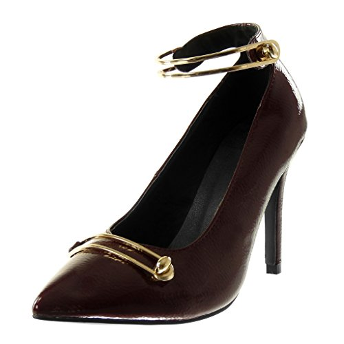 Angkorly Scarpe Moda Decollete con Tacco Decollete Stiletto Donna Verniciato a Grana D'Oro Tacco Stiletto Alto 10 cm Bordo