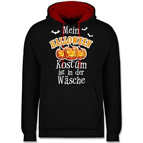 Halloween - Mein Halloween Kostüm ist in der Wäsche - 5XL - Schwarz/Rot - JH003 - Unisex Damen & Herren Kontrast Hoodie