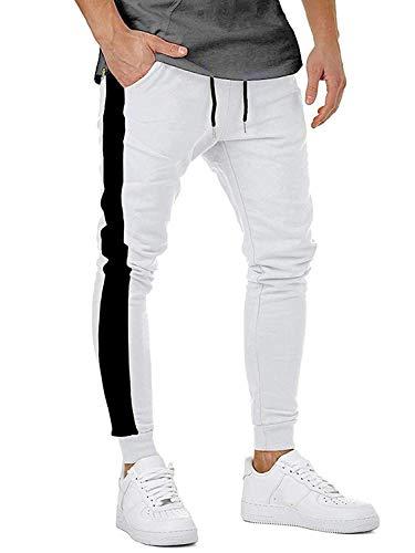 Herren Jogging Hose Streifen Pants Slim Fit Freitzeithose Sweatpants Jogginghose Chino Cargo Hosen Weiß Large