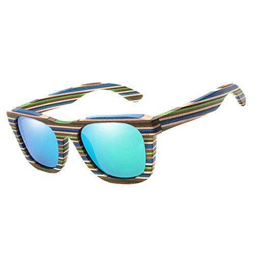 SM SunniMix Vintage Bambus Sonnenbrille Polarisiert Sonnenbrille Bambus Damen Herren Sonnebrille Herren Holz 100% UV400 Schutz Outdoor Brille - Grün (Frauen Sonnenbrillen Fehler)