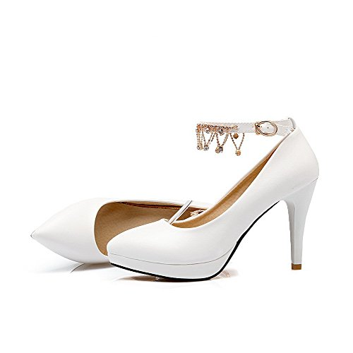 AgooLar Femme Matière Souple Boucle Pointu à Talon Haut Mosaïque Chaussures Légeres Blanc