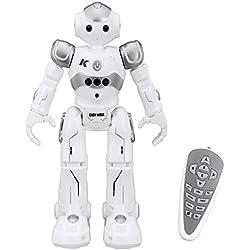 Virhuck R2 Robots de Radiocontrol, Robots de Programación Inteligente Sensación de Gestos, Bailando Cantando Caminando Robotica para Niños, con 500mAh de Batería Recargable- Gris
