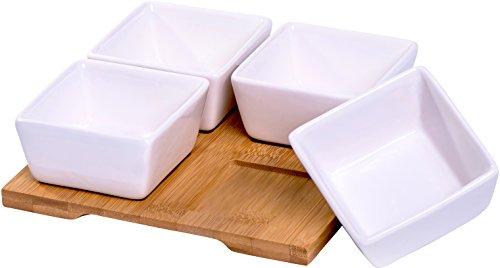 Dipschalen Set mit Bambustablett, ideal für das Servieren von Dips, Soßen, Tapas...