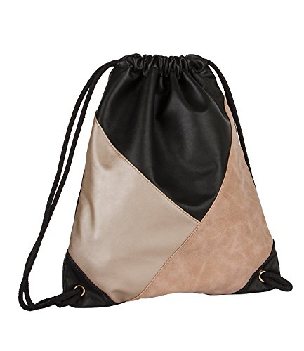 SIX-Trend-weicher-Damen-Rucksack-Tasche-Turn-Beutel-Sporttasche-aus-Kunstleder-in-Schwarz-Gold-Nude-Rosa-463-783