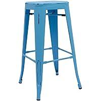 RegalosMiguel - Taburete Industrial Torix Azul Envejecido (Inspirado en la Línea Tolix)