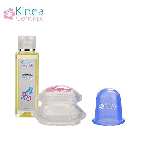 Lot de 2 ventouses anti cellulite et huile hydratante de massage: 1 ventouse kinea effet ultra drainant, 1 ventouse classique
