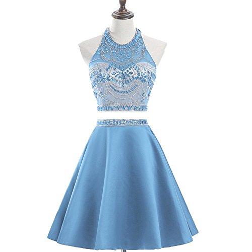 Ysmo Frauen Zwei Stück Sparkly Beading Heimkehr Kleider Open Back Kurze Prom Kleider Halfter knielangen kurzen Ballballkleid Himmelblau