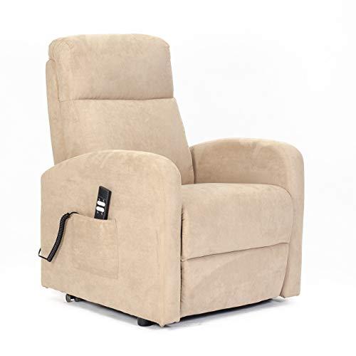 Meinrelaxsessel - Elektrischer Sessel, Aufstehhilfe, 2 Motoren unabhängige Neigung Rücken/Füße, weich, Nicht verformbarer Sitz, Best Price - Fernsehsessel-Mark-2M-CAM Kamel Mikrofaser