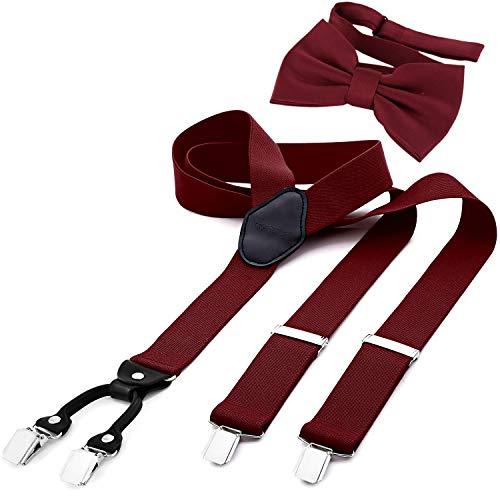 DonDon Herren 3,5 cm breiter Hosenträger in Y-Form elastisch und verstellbar im 2er Set mit farblich passender Fliege 12 x 6 cm Bordeauxrot
