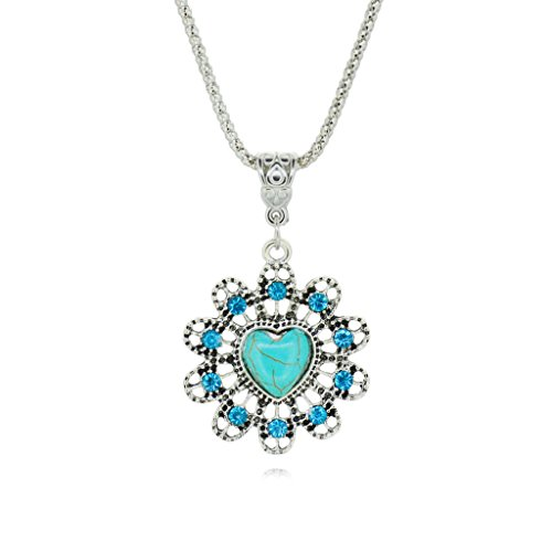 Liebes Sonne Hängende Halskette Retro Silber überzogene Rimous Türkis Halskette für Geliebten