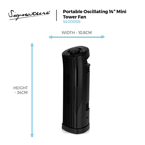 Signature S40005 Portable Mini Tower Fan with 90 Degree Oscillation or Fixed Cold Air Blow Function, 2 Speed Settings…