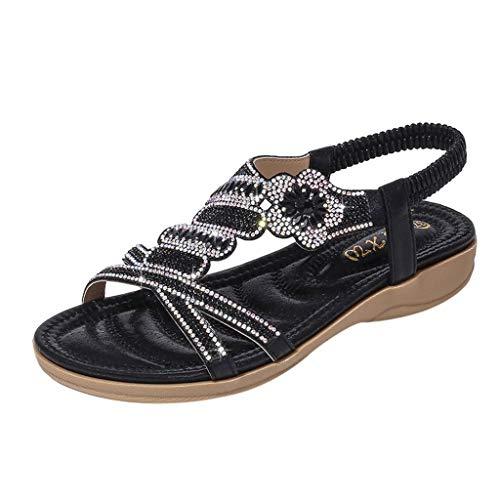 Innerose estate sandali da donna spiaggia bohemia eleganti bohemia aperte andali donna eleganti bassi scarpe con strass sandali punta aperta donna retro romana sandali