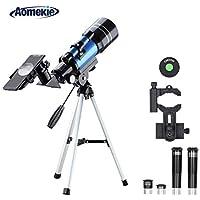 Aomekie Teleskop 70/300 Telescope Astronomy Fernrohr Teleskop Kinder Einsteiger mit Smartphone Adapter Aluminium Stativ Barlow und Umkehrlinse um Himmelsbeobachtung