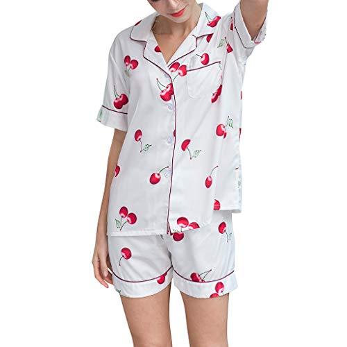 Linkay Damen Nachthemden Dessous Schlafanzugoberteile Bequem Zuhause Schlafanzughosen Kurzes Nachtwäscheset Pyjama Gesetzt Mode 2019 (Weiß, X-Large) -