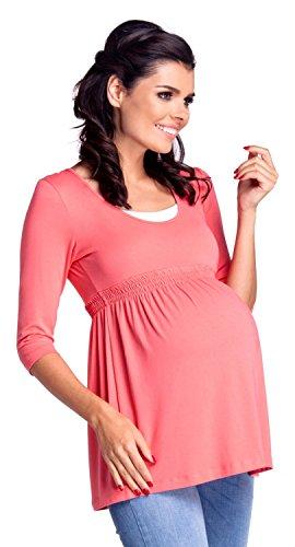 Zeta Ville - Maternité top de grossesse allaitement taille empire - femme - 280c Corail
