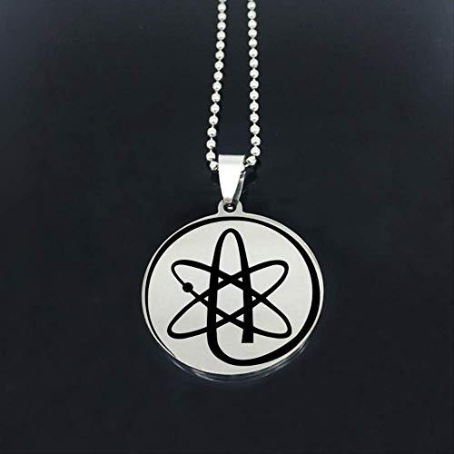 VAWA Atheist Science Symbol Halskette Edelstahl Disc Perlen Kette Halsketten Schmuck