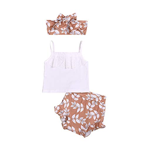 sunnymi  ® 0-24 Monate Kinder Baby Mädchen Strap Lace Tops Floral PP Shorts Haarband Outfits Sets Sommer - Gekräuselte Lace Top