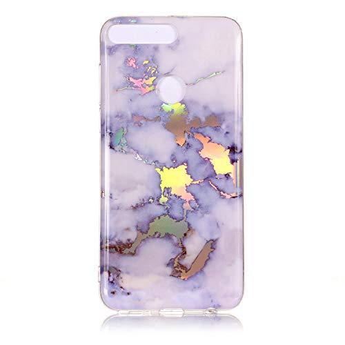 Cozy Hut Handyhülle für Huawei Y7 2018, Ultra Dünn TPU Silikon Hülle Case Cover Marmor Motiv mit IMD Schale Backcover Tasche Schutzhülle für Huawei Y7 2018 - Weiß blaues Gold