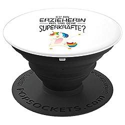 Ich bin Erzieherin was sind deine Superkräfte - Einhorn Dab - PopSockets Ausziehbarer Sockel und Griff für Smartphones und Tablets