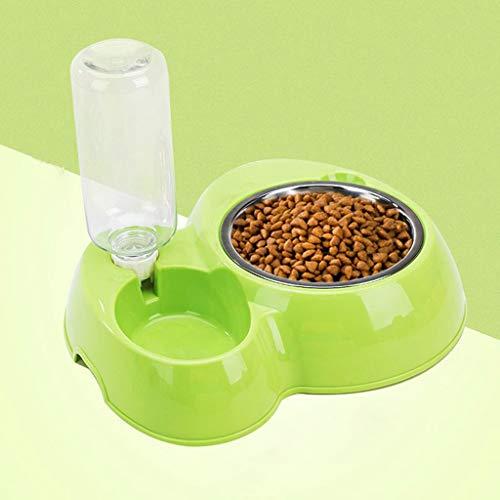 JM- Doppelport-Haustier-Hund-Katzen-Schüssel - automatische Plastikwasserspender-Zufuhr - Katze-Trinkbrunnen-Nahrungsmittelschüssel-Haustier-Schüssel (Farbe : Green)