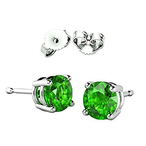 2.00 Carat Total Weight Sterling Silver Cubic Zirconia Synthetic Peridot Round Cz Stud Earrings by COUNTACHI