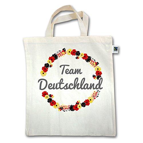 Shirtracer Fußball-Weltmeisterschaft 2018 - WM Team Deutschland Blumen - Unisize - Natural - XT500 - Jutebeutel kurzer Henkel