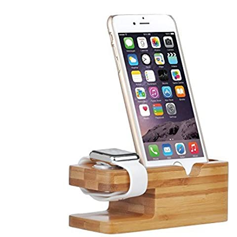 ELTD Apple Watch Stand, caricabatterie supporto in legno di bambù Docking Station di ricarica da supporto per entrambi Apple watch e iPhone 6S 6 5S 5 5C 4S 4(Bamboo)